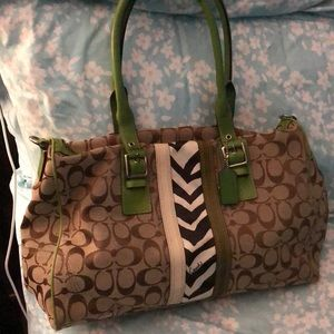 Unique Lime Green & Brown Coach Bag